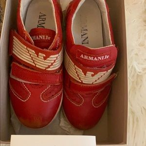 Armani junior red size 30 shoes used in a box